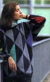 Пуловер с большими треугольниками