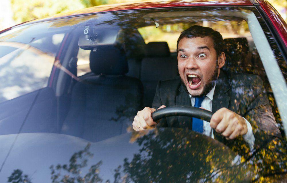 напуганный водитель перед аварией