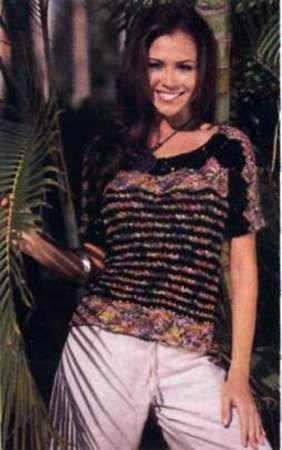 Вязаный узорный пуловер из чёрной и пёстрой меланжевой пряжи размеры: 38/40 (42/44) 48/50