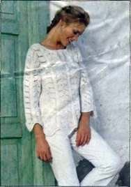 Вязаный пуловер с узором из листьев размеры: 36/38 (40/42) 44/46