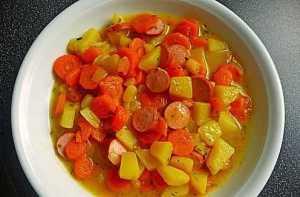Картофельный салат с венскими колбасками