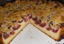 Сливовый пирог с творогом