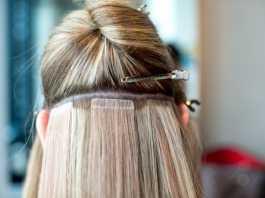 наращивание прядей волос