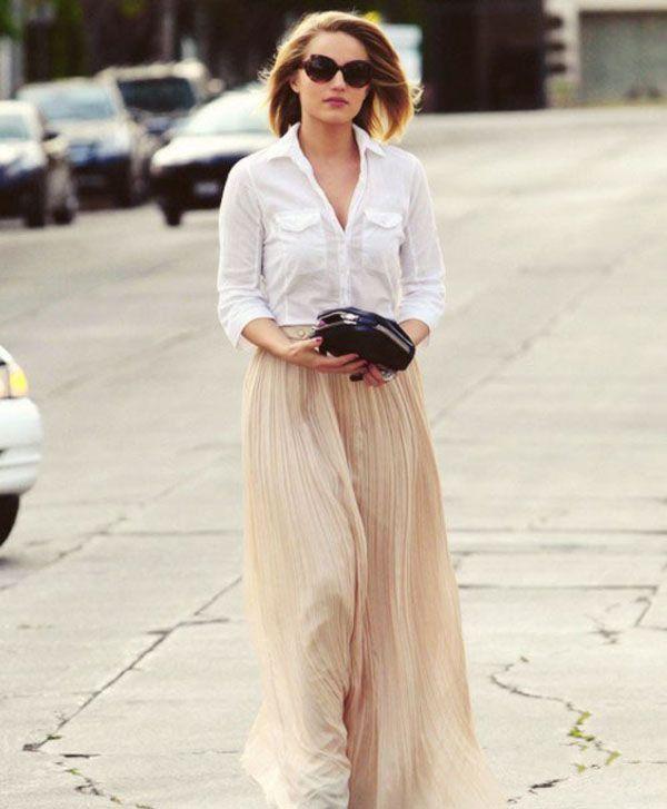 Белая рубашка с длинной юбкой